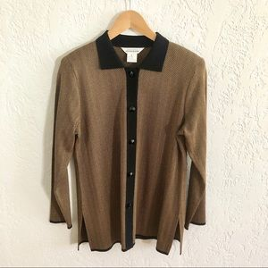 Misook Button Front Cardigan Sweater Black / Tan S
